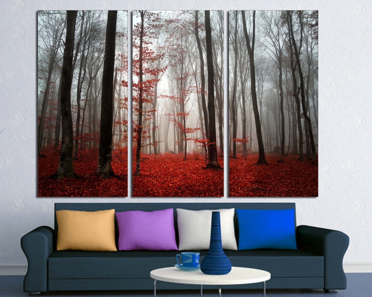 3 Panel Wall Art Classy Red Leaves Forest Trees Mist Canvas Print Wall Art3 Panel Inspiration