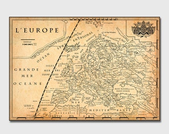 Vintage Europe Map, Country Map Poster Print, Art Print, Map Poster, Wall Decor, Vintage Map Prints, Custom Maps [PXWM068-P]