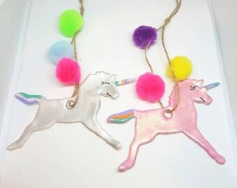 2 cute unicorn pompom christmas tree ornaments