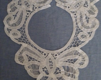 Vintage White Battenburg Collar.