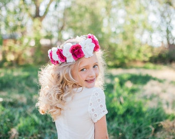 Pink and White Roses Child Size Floral Crown Accented with Green Leaves and White Berry Bunches