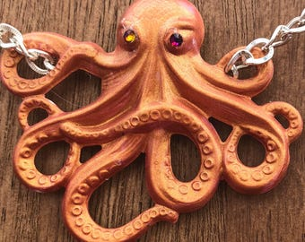 Necklace Caramel the Octopus Pendant