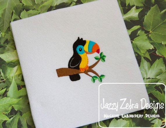 Toucan on Branch filled embroidery Design - toucan embroidery Design - bird embroidery Design - jungle embroidery Design