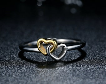 PA Entwined Hearts Two Tone Sterling Silver Women's Ring - Heart to Heart Statement Ring - (P)7173