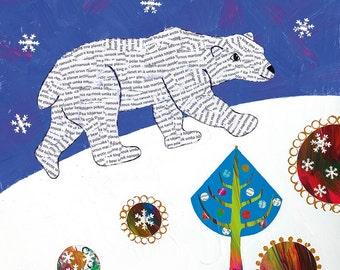 Christmas card, Polar Bear card, Polar Bear Christmas card, animal card, The Arctic, Ursus, collage bear, mixed media card, Christmas tree.