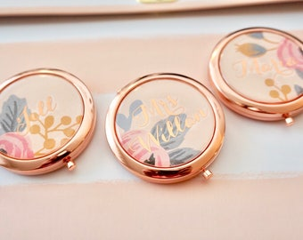 Personalized Compact Mirror - Rose Gold Compact Mirror | Gold Compact Mirror | Bridesmaid Compact Mirror | Mermaid Compact Mirror
