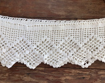 "Vintage / antique crocheted / handmade cream colored lace/ 84"" x 6"""