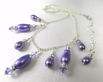 Purple Tanzanite Pearl Necklace with Swarovski Crystals and Pearl Teardrops on Silver Fill Chain