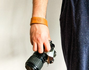 Light Brown Genuine Leather Camera Wrist Strap with Quick Release Feature - Free Gift Wrap