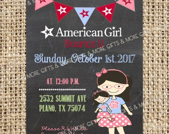 American Girl Black Hair with Glasses*** Party PRINTABLE PERSONALIZED INVITATION***
