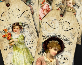 10 Vintage Victorians illustrations full colour TAGS printable digital download