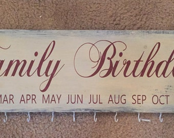 Family birthdays month wall sign with hooks birthday calendar planner anniversary anniversaries
