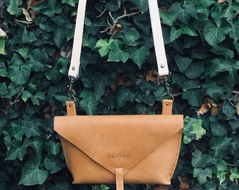 Tan genuine Leather cross body sling bag