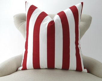 Red Stripe Pillow Cover, Big Pillow, Euro Sham, Floor Pillow, Bold Modern, Canopy Lipstick Red White Premier Prints 24x24 26x26 28x28 inch