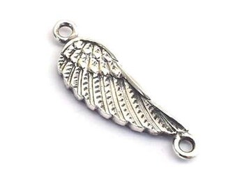 Sterling silver Angel Wing Connector ,Silver 3d angel wings with 2 loops , solid silver angel wing charm with two loops