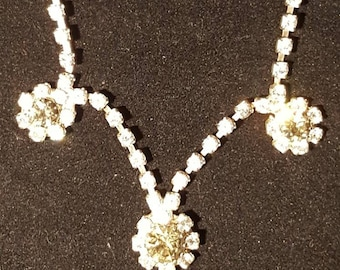 Beautiful Rinestone Necklace with Green Gems. Perfect for Winter Formal, Prom, New Year's Eve .