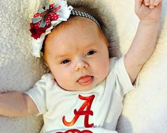 Baby Girl Alabama Inspired Headband, Alabama Baby Bow, Baby Girl Roll Tide Headband Crimson Headband Football Headband Game Day Headband
