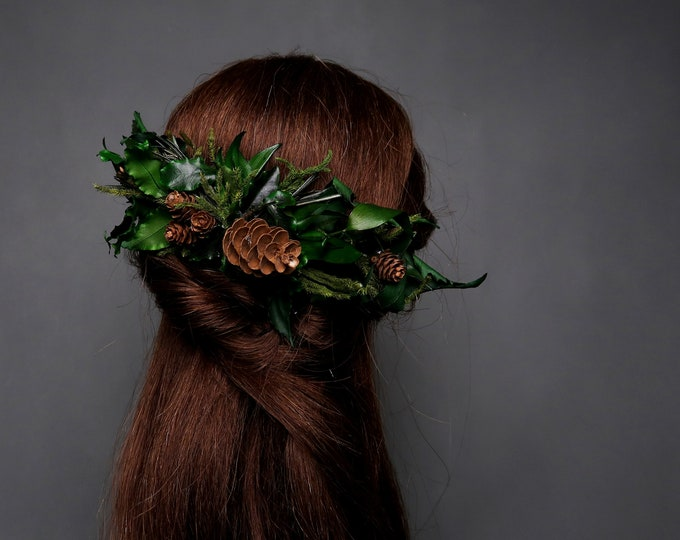 Greenery natural bridal hair comb wedding hairpiece green preserved real leafs pine cones woodland style boho hairstyle accessory rustic
