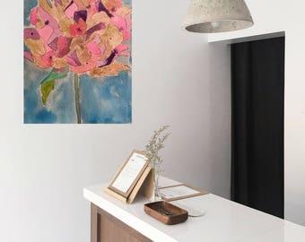 Flower Art Original Watercolor Painting Hydrangea Flower PaintingOffice Decor Bedroom Decor Nature Art Framed Painting Botanical Print