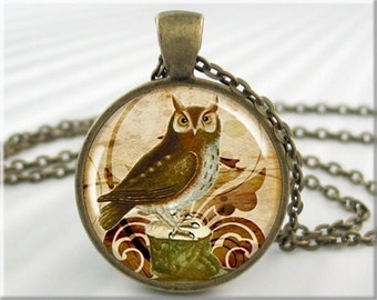Owl Art Necklace, Resin Pendant, Owl Art Collage, Resin Charm, Round Bronze, Gift Under 20, Gift For Bird Lover (034RB)