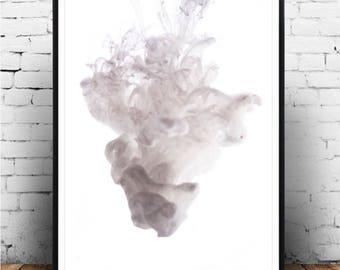 Ink Fine Art Digital Print HD (Used White), Fine Art Print, Abstract Art Print, Ink In Water Print, Wall Art Prints, Abstract Print