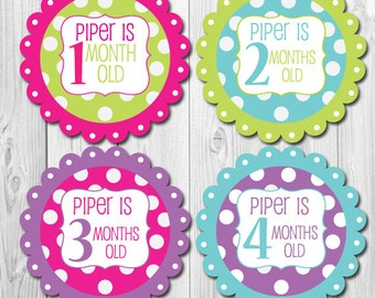 Personalized Monthly Baby Stickers, Baby Stickers for Girls, Custom Name Month Stickers, Milestone Stickers, Just Born, Baby Shower Gift