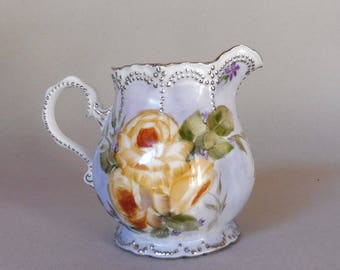 Yellow Rose and Purple Berry Porcelain Pitcher