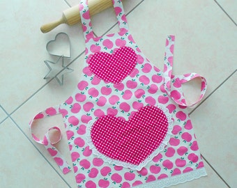 Girls Apron Pink, kids & toddlers kitchen craft art play apron, child lined cotton apron, pink apples and polka dot apron, heart lace pocket