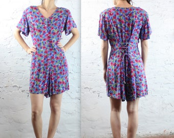 1990's Magenta Floral Romper with Lace Up Back in Large Plus Size Blue Flower Print Beach Summer Vacation 90s 80s 1980s