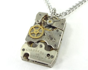 Steampunk Necklace Made From Antique 1934 Watch Movement
