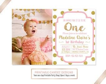 Pink and Gold Birthday Invitation, 1st Birthday Invitation, Girl Birthday Invitation, Gold Glitter Invitation, DIY Printable
