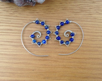 Spiral lapis lazuli sterling silver earrings boho earrings wirework