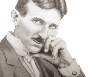 Nikola Tesla signed inkjet print