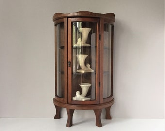 Vintage Curio Cabinet, Miniature Display Shelf, Curved Glass Hanging Cabinet, Footed Tabletop Collector's Shelf, Knickknack China Storage