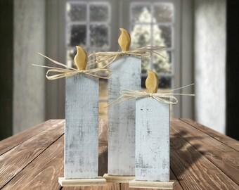 White Wood Christmas Candle Set