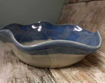 Blue and White Ruffled Bowl
