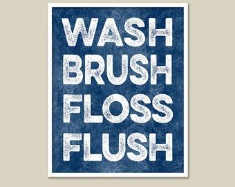 "Wash Brush Floss Flush Subway Art for Bath /Distressed Retro Bathroom Wall Art/ Bathroom Print -  8""x10"" Art Poster"