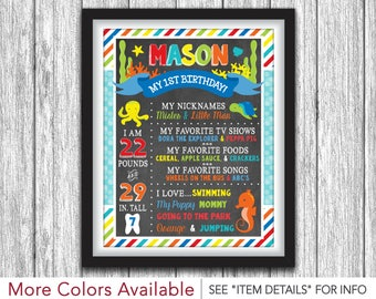 Under the Sea Chalkboard Poster - Printable First Birthday Chalkboard Poster - Personalized Digital File - ANY AGE