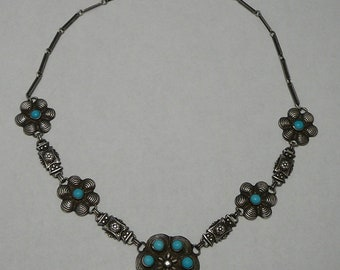 Art Deco Choker Necklace Turquoise Glass Gem Flowers Dimensional