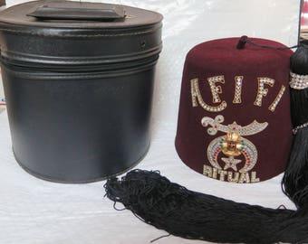 Vintage Shriners of Tacoma WA Afifi Ritual Fez with Hat Box