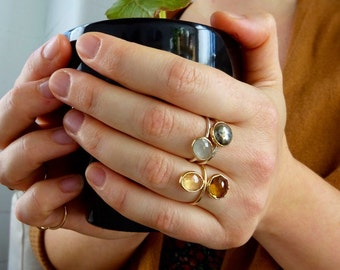 Citrine & Honey Quartz Cleo Ring, Dual Gemstone Stackable ring, Handmade to order with recycled 14k Gold