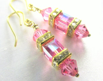 Small Swarovski Pink Rose and Gold 6mm Cube Lantern Earrings on 14k gold fill wires or post