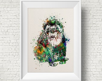 Colorful Ferret 1 Watercolor ferret painting illustration ferret Art Print Wall Gift Poster Giclee Wall Decor Home Decor Wall Hanging