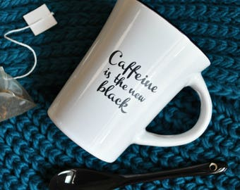 Caffeine Is The New Black Novelty Mug And Spoon Set