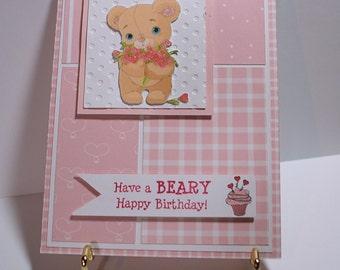 Beary Happy Birthday Card-Birthday Card-Bear Card-Card-Greeting Card-Handmade Card-Dimensional Card