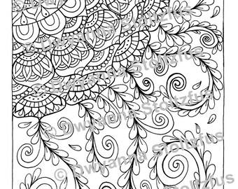 Mandala Style Flower Coloring Page JPG