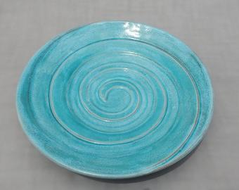 Pottery Serving Platter  For Entertaining- Handmade Centerpiece Turquoise Earthenware Platter - Spiral Design