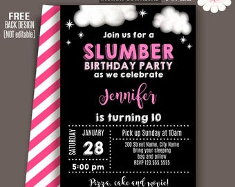 Slumber Party Invite Etsy - Invitations for sleepover party templates