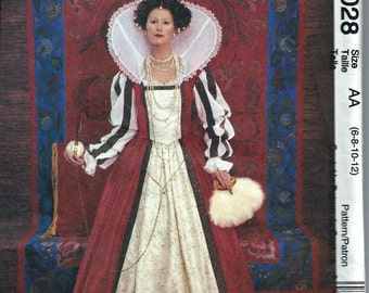 McCall's 4028 Queen Monarch Elizabethan Renaissance Costume Sewing Pattern Size 6, 8, 10 and 12