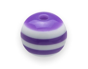 150 Purple STRIPED Beads 8mm Round Resin H484